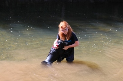 When Winnie was learning how to swim she'd climb up on me to escape the water!