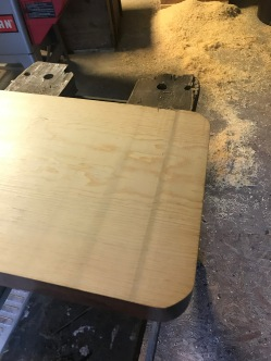 Due to our planers blades being slightly dull you can see that it ended up giving the bench a slight dent in the wood